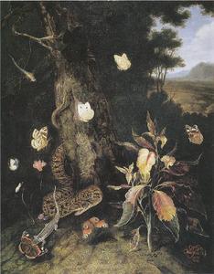 Klaroen omringd door een slang, hagedis en vlinders