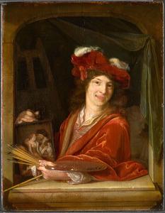 Portret van een kunstenaar, mogelijk een zelfportret van Adriaen van der Werff (1659-1722)