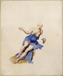 Zittende vrouw met ontbloot bovenlijf
