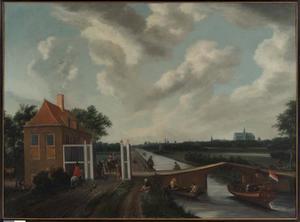 Het tolhek aan de Leidsevaart bij Heemstede met Haarlem in het verschiet