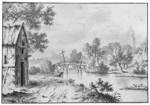Rivierlandschap met huis, brug en toren
