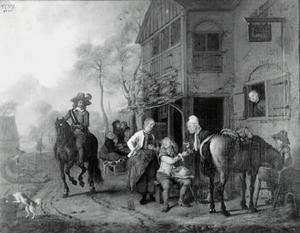Reizigers voor een dorpsherberg