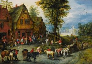 Dorpsstraat met Maria en Josef bij de herberg