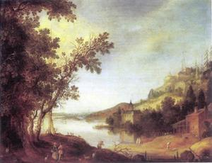 Heuvelachtig rivierlandschap met figuren