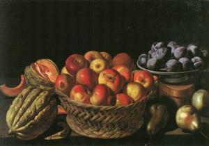 Stilleven met appels, peren, meloenen en pruimen