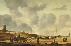 Visverkopers op het strand (nabij Egmond aan Zee of Wijk aan Zee?)