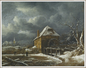 Winterlandschap met watermolen