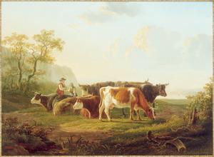 Landschap met een herder bij een kudde koeien