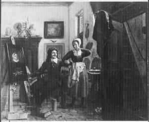 Interieur met schilder en zijn model