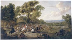 Weids landschap met een ruitergevecht