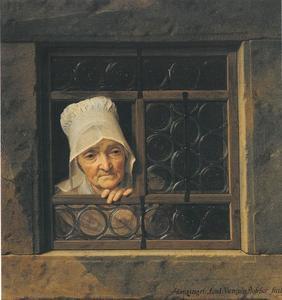 Oude vrouw in een venster