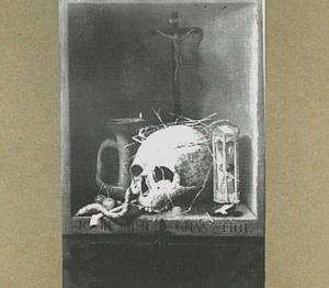 Vanitasstilleven met een schedel en een crucifix
