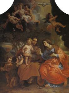 De H. Familie met de putti, dier bloemen brengen