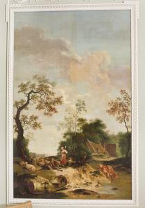 Landschap met herderspaar bij een rivier