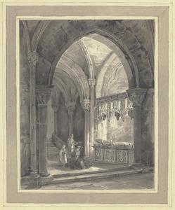 Biddende monniken in een kloostergang