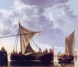 Rivierlandschap met een veerboot bij een aanlegsteiger