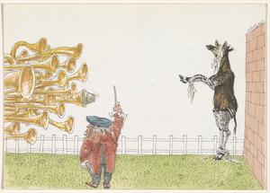 Brief aan Ferry en Willem den Ouden met tekening van Wagner, trompetten en okapi