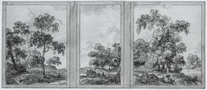 Gedeelte van een zijwand met drie behangselvlakken met landschappen