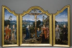 De HH. Johannes de Doper en Catharina (binnenzijde links), De kruisiging met Maria, Johannes de Doper en de H. Paulus met stichter (midden), De HH. Antonius van Padua en Nicolaas van Tolentino (binnenzijde rechts)