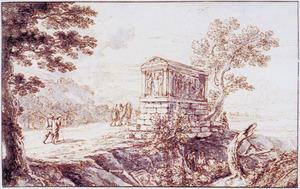 Berglandschap met figuren bij een klassiek grafmonument