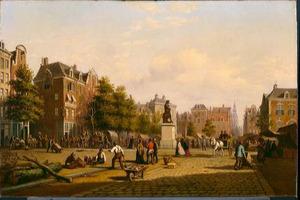 Gezicht op het Reguliersplein (nu Thorbeckeplein) in 1869, met op de achtergrond de Botermarkt (nu Rembrandtsplein)