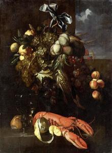 Vruchtenfestoen met daaronder een kreeft, roemer, citroen en brood