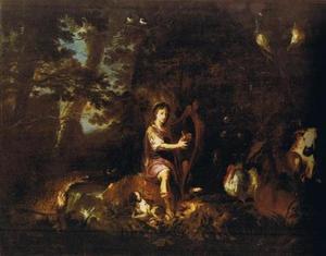 Orpheus voor de dieren spelend