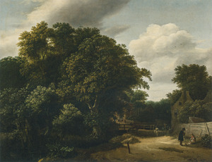 Landschap met een dorpsweg