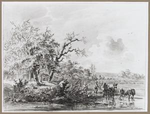 Boomrijk landschap met herders en vee bij een watertje
