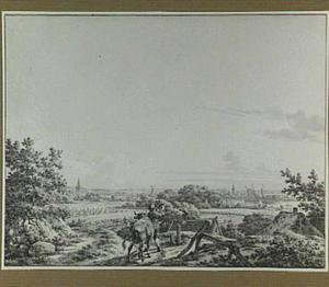 Landschap met boer en stier en stad aan een rivier