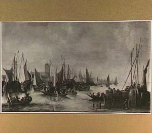 Schepen voor de haven van Dordrecht