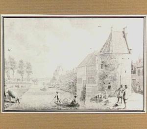 De Papentorenvest met de Dunnebierstoren te Haarlem in de zomer (de Zomer)