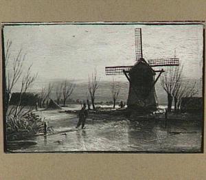 Winterlandschap met een molen en een schaatser