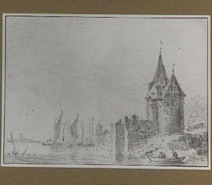 Fortificatie aan de kust en zeilschepen