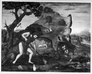 Adam en Eva werkend en zwoegend na de Zondeval (Genesis 23-24)