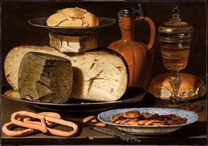 Stilleven met kazen, brood en drinkgerei