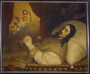 Portret van Herman Kuysten (1635-1666) op zijn sterfbed