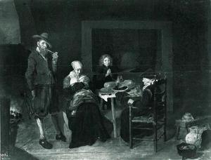 Famile aan een gedekte tafel