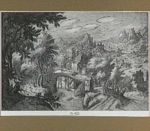 Berglandschap met houten brug