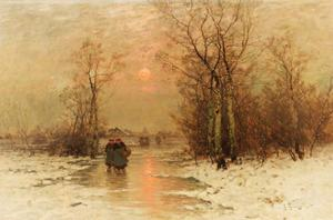 Winterlandschap met boerinnen lopend op het ijs