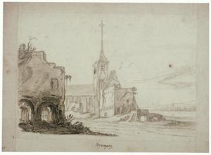De ruïne van de abdij van Rijnsburg vanuit het noorden