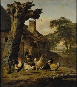 Landschap met kippen voor een boerderij