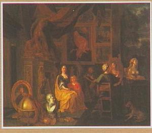 Atelier met schilder die een voorname dame portretteert
