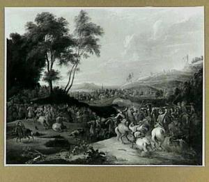 Ruitergevecht in een boomrijk heuvellandschap