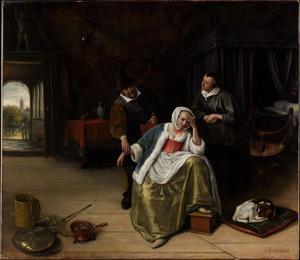 Interieur met dokter en zieke vrouw