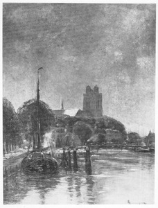 Gracht en Grote Kerk te Dordrecht