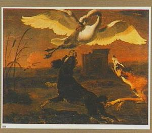 Twee honden jagen op een zwaan
