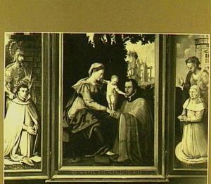 Erasmus de Visscher van der Gheer en de H. Adrianus (links), Maria met kind en Johannes de Visscher van der Gheer (midden), Cornelia de Visscher van der Gheer en de H. Barbara (rechts)