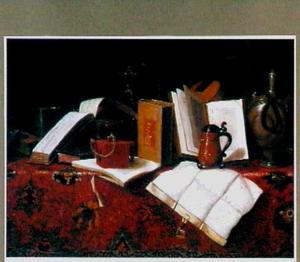 Stilleven met boeken, siervaatwerk en steengoed, een viool en een document op een oosters tapijt