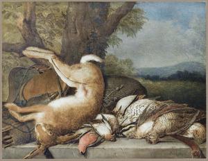Dode haas en gevogelte met jachtattributen op een stenen plint in een landschap